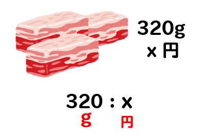 それぞれ100:350と320:xという比ができあがりました。